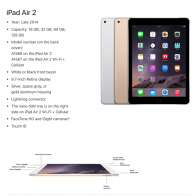 Apple iPad Air 2 - 128GB - 4G - White Silver - (Retina Display)