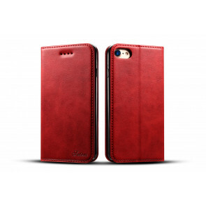 iPhone X/ XS Case - 100% Leather - Rood/Roze