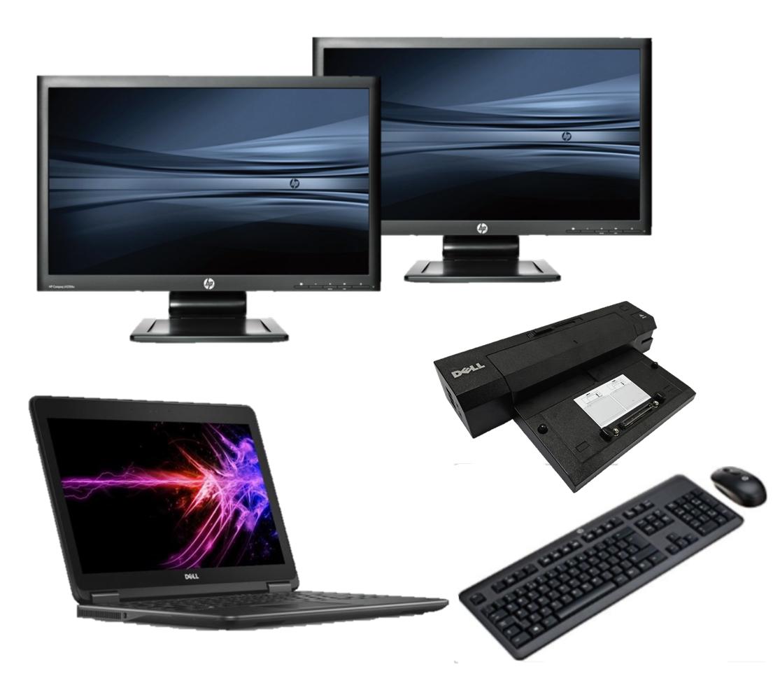 Dell Latitude E7250 intel i5 128GB SSD + Docking + Dual 2x 23'' Widescreen Full HD Monitor