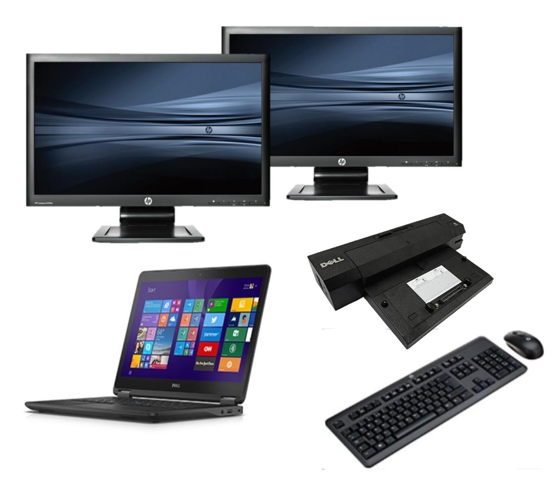Dell Latitude E7450 intel i5 128GB SSD + Docking + Dual 2x 23'' Widescreen Full HD Monitor