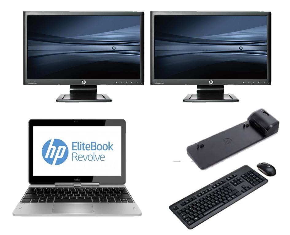 hp Elitebook Revolve 810 G2 - Intel Core i5 - 8GB - 128GB SSD - B-Grade + Docking + Dual 2x 23 Widescreen Full HD Monitor