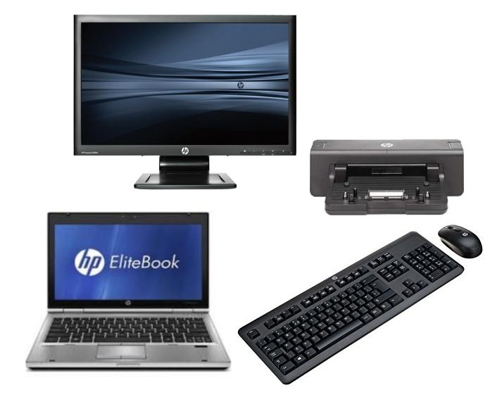 HP Elitebook 2170P intel i5 + Docking + 24'' Widescreen Monitor