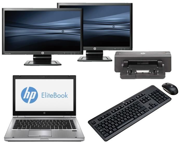 HP Elitebook 8470P intel i5 + Docking + Dual 2x 24'' Widescreen Monitor