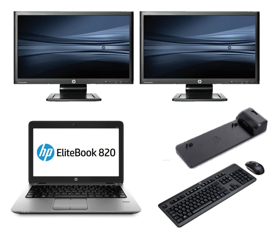 HP Elitebook 820 G1 intel i5 + Docking + Dual 2x 24'' Widescreen Monitor