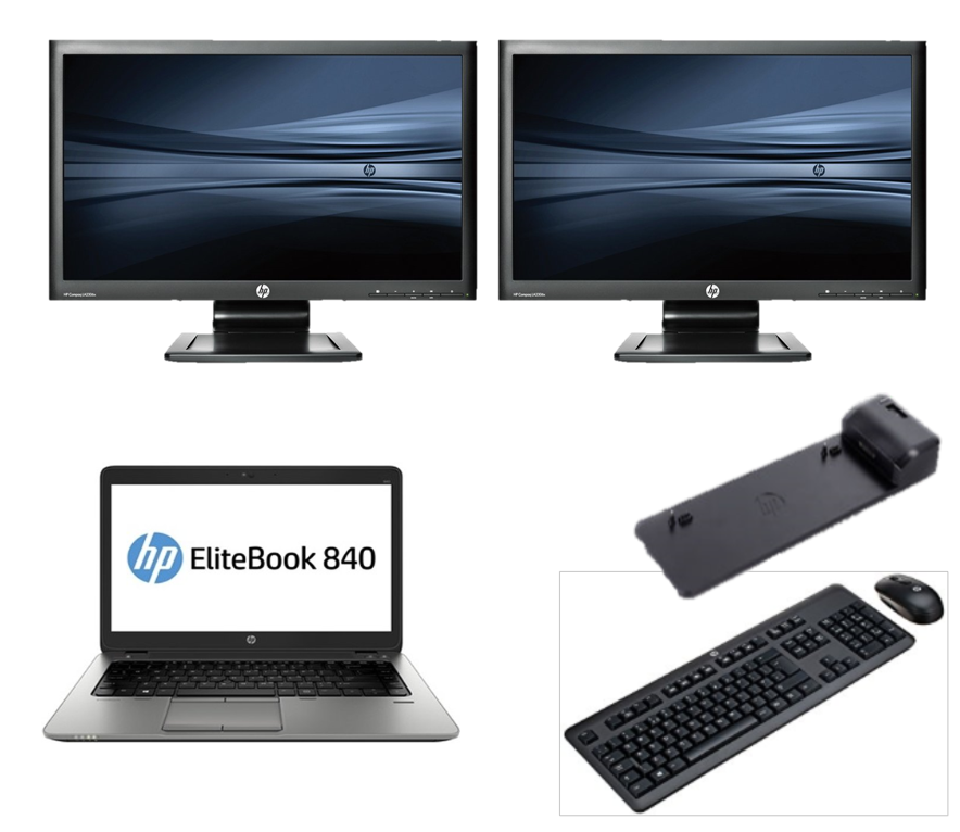 HP 840 G1 intel i5 + Docking + Dual 2x23'' Widescreen Full HD Monitor