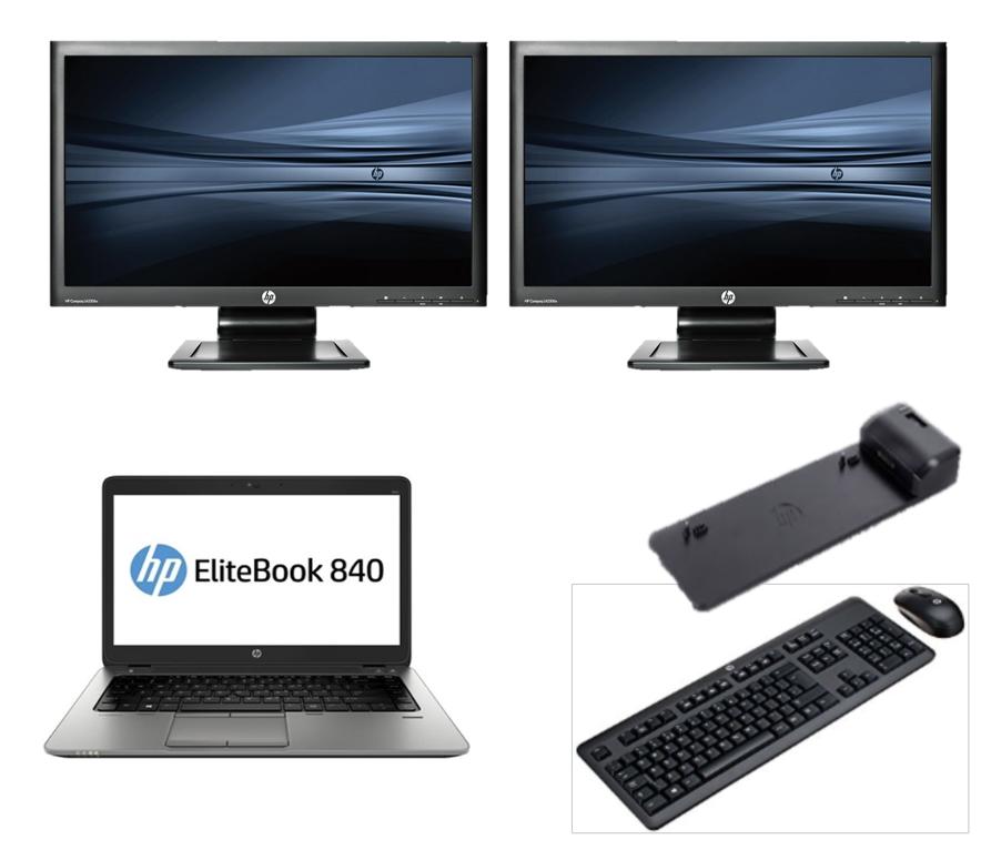 HP 840 G1 intel i5 + Docking + Dual 2x22'' Widescreen Monitor