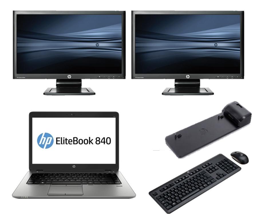 HP 840 G2 intel i5 + Docking + Dual 2x 24'' Widescreen Monitor
