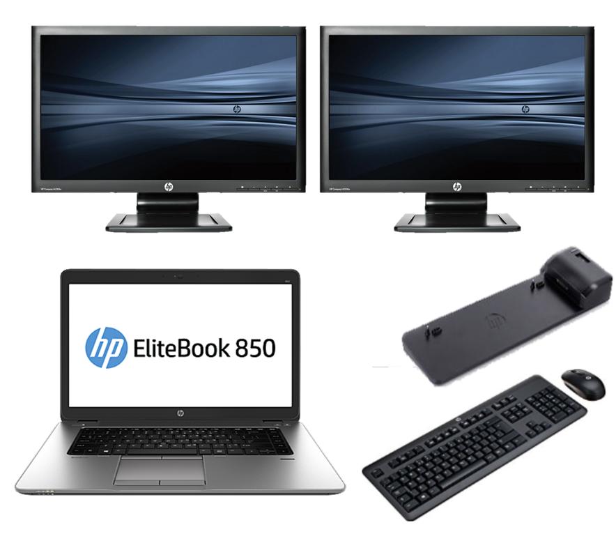 HP Elitebook 850 G2 intel i7 + Docking + Dual 2x 22'' Widescreen Monitor