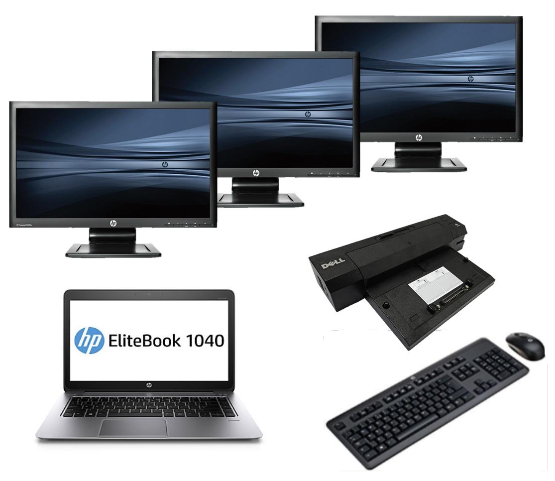 HP Elitebook Folio 1040 G1 intel i5 128GB SSD + Docking + Dual 3x 22'' Widescreen Monitor