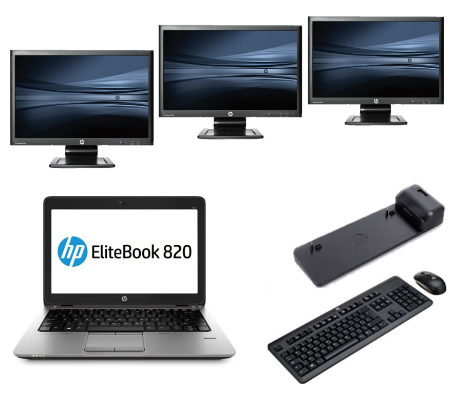 HP Elitebook 820 G1 intel i5 + Docking + Dual 3x 23'' Widescreen FullHD Monitor