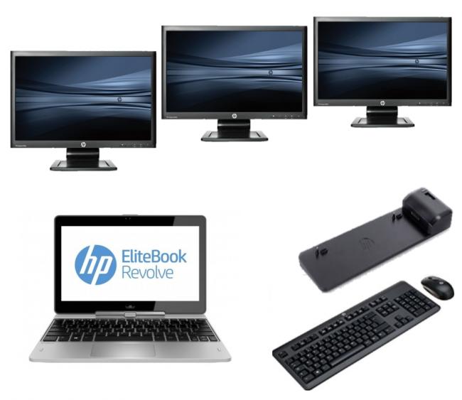 hp Elitebook Revolve 810 G2 - Intel Core i5 - 8GB - 128GB SSD - B-Grade + Docking + Dual 3x 24 Widescreen Monitor